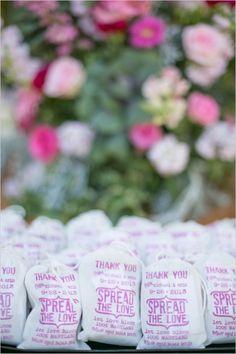 flower seed wedding favors #weddingfavors #flowerseedsacks #weddingchicks http://www.weddingchicks.com/2014/03/28/pink-wedding/