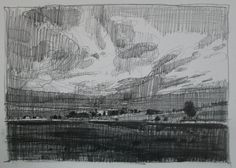 Burst Original Pencil Landscape Drawing on Paper by Paintbox