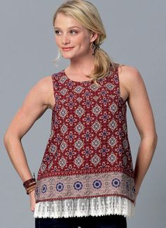 Cute tops with cutaway shoulders and overlay details. New sewing pattern from McCall's. M7389