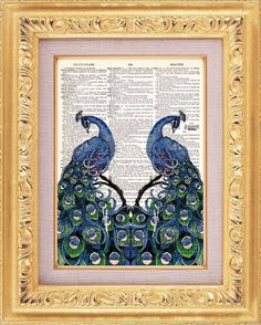 Peacock on Gramophone Victorian Unique  /& Surreal Vintage Dictionary Print