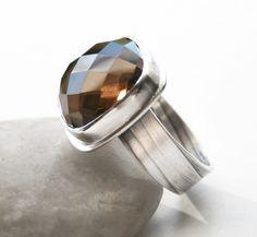 Smokey Topaz Ring - Sterling Silver Handmade OOAK - Modern Design Ring