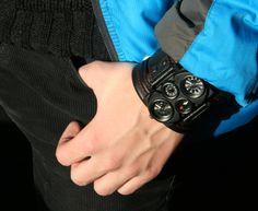 "Men's Wrist watch leather bracelet ""Voyager-2"" - Steampunk Watch. $170.00"