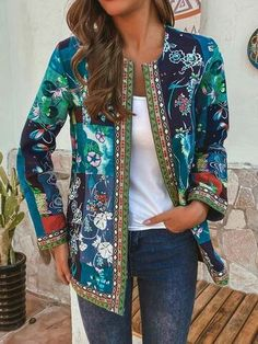 O-NEWE Vintage Ethnic Style Floral Print Patchwork Plus Size Jacket - Newchic Plus Size Outerwear Mobile Plus Size Outerwear, Plus Size Coats, Blouse En Coton, Style Floral, Blue Style, Ethnic Fashion, Womens Fashion, Vestidos Vintage, Themed Outfits
