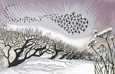 Midwinter Starlings linocut