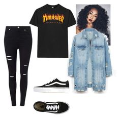 """""""Thrasher outfit"""" by chalizemac on Polyvore featuring Miss Selfridge, Vans and LE3NO"""