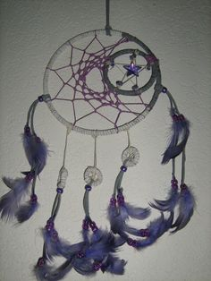 Indian Dreamcatcher To The Moon Exeter Series,made with lavender duck feathers and purple crystal, by  Dreamcatcherman