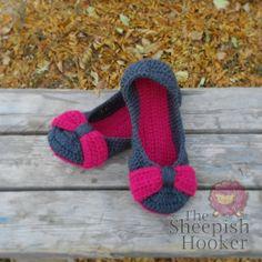 The Sheepish Hooker Crochet Womens Bow Slippers - Made to Order-Non Slip #Handmade, #MMMakers, #MMMoney
