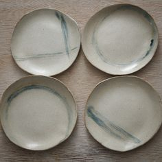 Dinner and Salad Plates with Blue and Brown Accents, Set of 8. $196.00, via Etsy.