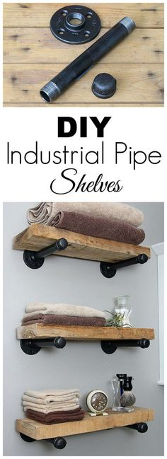 Super easy step by step tutorial for how to make DIY industrial pipe shelves at .Super easy step by step tutorial for how to make DIY industrial pipe shelves at a fraction of the cost of the store bought version. Industrial Pipe Shelves, Industrial House, Kitchen Industrial, Industrial Style, Industrial Furniture, Rustic Shelves, Diy Pipe Shelves, Vintage Industrial, Industrial Design