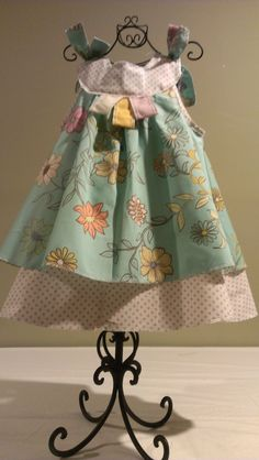 2T Dress Aqua Blue Floral Print with Tan Polka Dots by sandybiebel, $42.95