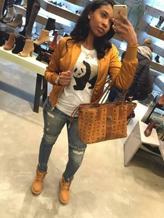 Need a bomber to match my timbs 😍 Dope Outfits, Swag Outfits, Casual Outfits, Fashion Killa, Girl Fashion, Fashion Outfits, Fashion Pants, Style Fashion, Fashion Tips