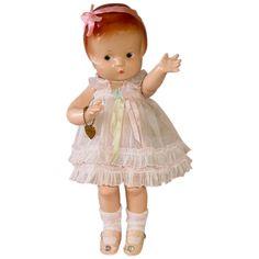 Vintage Dolls, Vintage Pink, Effanbee Dolls, Upper Lip, Heart Bracelet, Pink Silk, Silk Ribbon, Her Hair, Doll Clothes