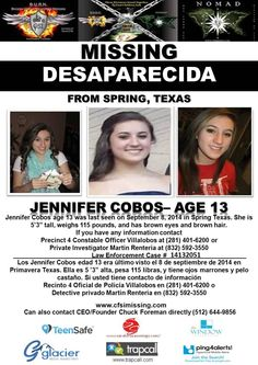9/8/2014: Jennifer Cobos, age 13, is #missing from Spring, Texas.