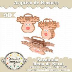 Sacolinha Rena de Natal, Reindeer Bag, Reno, Elk, Alce, Nariz Vermelho, Red Nose, Cute, Fofo, Fluffy, Christmas, Natal, Navidad, Feliz Natal, Merry Christmas, Feliz Navidad, Gift, Presente, Silhouette, 3d, 3d Model, 3d Project, 3d Design, Sacola, Sacolinha, 3d, Modelo 3d, Projeto 3d, Proyecto 3d, Diseño 3d, Cuadro, Modelo 3d, Diseño 3d, SVG, DXF, PNG
