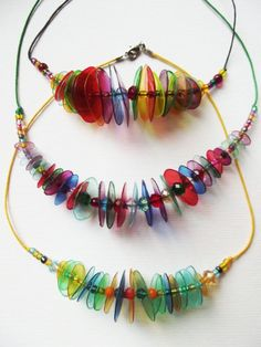 Items similar to Colourful plastic necklaces. on Etsy Bottle Jewelry, Beaded Jewelry, Beaded Necklace, Plastic Bottle Crafts, Plastic Jewelry, Earrings Handmade, Handmade Jewelry, Found Object Jewelry, Pet Bottle