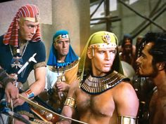 The Ten Commandments Moses as the Prince of Egypt — L-R: Yul Brynner, Vincent Price, Charlton Heston and John Derek