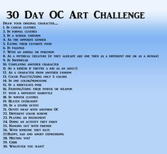 Draw your original character! 30 Day OC Art Challenge