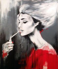 'Fag ash beauty' 20 x 24' Acrylic and ink on canvas
