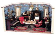 Puppen & Spielzeug Museum: 297 Fine German Dollhouse Room with Rare Painted Tinplate Furnishings