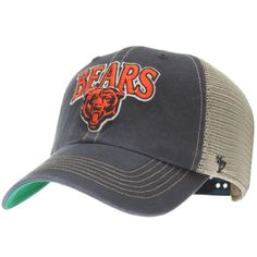 35c2566e8739a Chicago Bears Navy and Tan Text and Bear Logo Mesh Back Adjustable Hat by 47  Brand