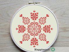 modern cross stitch pattern flowers & hearts by Happinesst on Etsy
