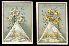 H42 - PAIR OF VICTORIAN RELIGIOUS MOTTO CARDS - SCENIC - SCRIPTURE - BIBLE QUOTE