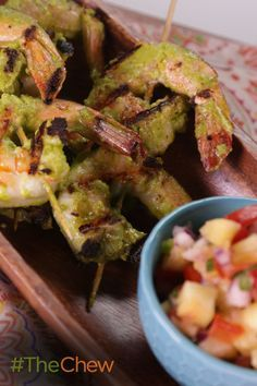 Grill up these delicious Green Dragon Shrimp Skewers with Grilled Pineapple Pico de Gallo for your next BBQ!