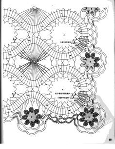 Napkin-track with elements of the Bruges lace, crocheted . Discussion on LiveInternet - Russian Service Online Diaries Filet Crochet, Crochet Doily Diagram, Crochet Borders, Irish Crochet, Crochet Motif, Crochet Doilies, Crochet Stitches, Russian Crochet, Diy Crafts Crochet