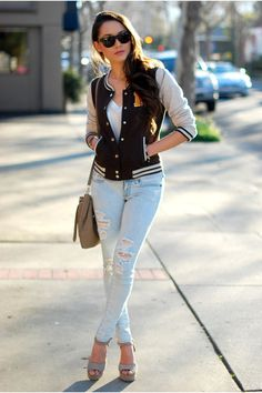 Discover this look wearing Stylegodis Jackets, PacSun Jeans - Letterman Style by HapaTime styled for Casual, Going Out With Friends in the Spring Sporty Chic, Casual Chic, Sexy Jeans, Skinny Jeans, Varsity Jacket Outfit, Hapa Time, Jessica Ricks, Cute Outfits, Casual Outfits