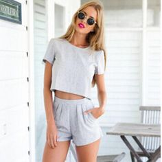 Overview: Grey Crop Top and High Waist Shorts are casual sexy and perfect to wear on the weekend to the beach or for a day of shopping! Details: polyester Size: Small - Top Bust Small - S Crop Top Outfits, Sexy Outfits, Casual Outfits, Cute Outfits, Fashion Outfits, Fashion News, Woman Outfits, Women's Fashion, Grey Crop Top