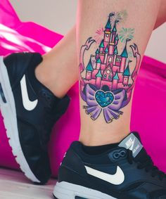 Disney castle tattoo by Ali Burke. Blogged at http://fourcatsplusus.co.uk