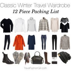 Sample 12 piece packing list and capsule wardrobe set for travel in the winter - see the full packing guide!