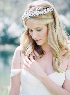 Delicate Pearl Bridal Halo with an Off the Shoulder Wedding Dress | Heather Payne Fine Art Photography | http://heyweddinglady.com/enchanted-garden-wedding-colorful-summer-florals/