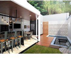 Small Backyard Pools, Backyard Garden Design, Minimalist House Design, Minimalist Home, Outdoor Garden Rooms, Outdoor Decor, Urban House, Rooftop Design, New Kitchen Designs