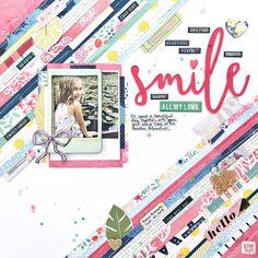 Smile layered paper strips Scrapbook Layout by Heather Leopard #scrapbooking #scrapbook Gossamer Blue #gossamerblue