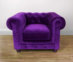Wonderful Purple Couch | Purple Velvet One Seat Sofa | Passionate Purple