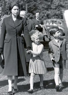 The Queen with Princess Anne and Prince Charles at the Royal Windsor Horse Show in 1955