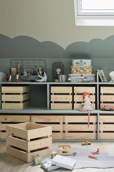 Wie erstelle ich Speicher in einem Spielzimmer? To offer children a playroom that gives the feeling of playing outside and inside under the roof. Nursery Storage, Bedroom Storage, Playroom Storage, Baby Bedroom, Kids Bedroom, Cama Ikea, Kids Room Organization, Toddler Rooms, Kids Room Design