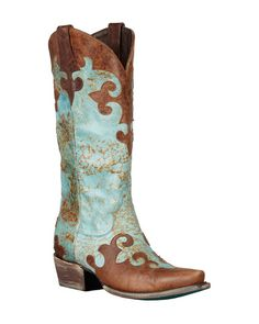"""Lane Boots Womens Leather Distressed Dawson 13"""" Cowgirl"""