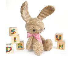 PATTERN: Amigurumi bunny - Cute sitting rabbit - Baby girl gift - Crochet photo tutorial - EN-017