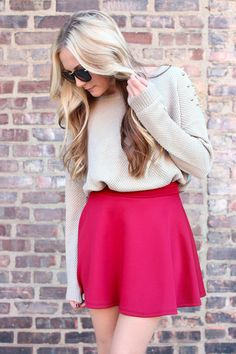 Old School Skater Skirt - Burgundy