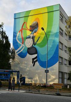 Rennes, France, Seth, imaginative street art, graffiti art, street artists, urban murals, urban art, mr pilgrim art.