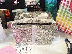 Graduation wedding glitter sparkly card box! I did this for my open house and it was awesome!