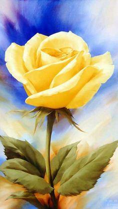Beautiful Flower Drawings, Beautiful Flowers, Blue Flower Wallpaper, Floral Artwork, Rose Art, Arte Floral, Acrylic Painting Canvas, Yellow Roses, Flower Art