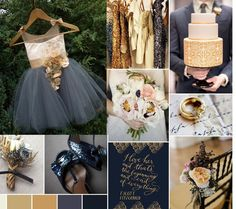 Gold, Navy and Graphite Wedding Ideas.