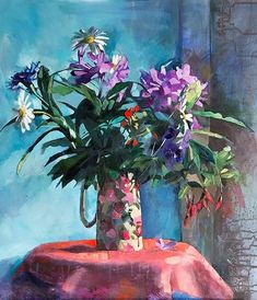Light and colour in a jug of flowers. #flower_painting #workshop #artist–workshop #mixedmedia #originalart #ainedivine #floraljug #stilllife #purpleflowers #purple_flowers #redflowers #red_flowers #daisies
