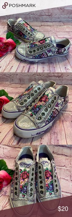 Details about Ed Hardy women's tru to love heel classic shoes multicolor canvas size 6