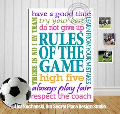 Soccer Wall Decor rules of the game sports signs for boys room teen wall art sports