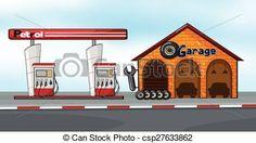 Vector - gas, estación, garaje - stock de ilustracion, ilustracion libre de, stock de iconos de clip art, logo, arte lineal, retrato de EPS, Retratos, gráficos, dibujos gráficos, dibujos, imágenes vectoriales, trabajo artístico, Arte Vectorial en EPS