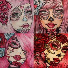 Day of the Dead  Dia de los muertos  Pink  Punk ART PRINT SET  4 -  8 by 8  Lowbrow Tattoo Home Decor art red roses pink hair sugar skulls via Etsy